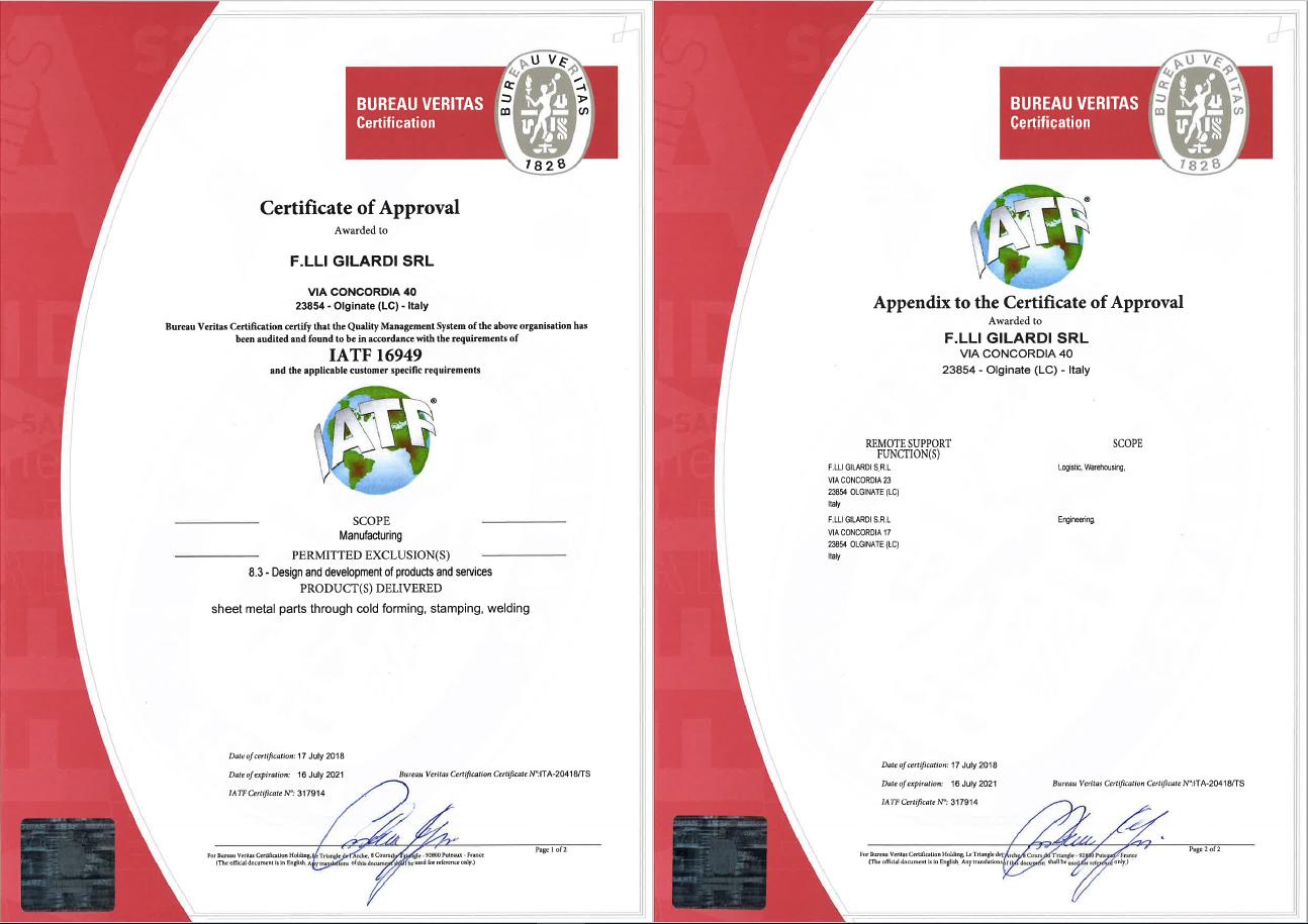 Certificazione IATF 16949:2016 Flli Gilardi srl - Stampi e stampaggio lamiera