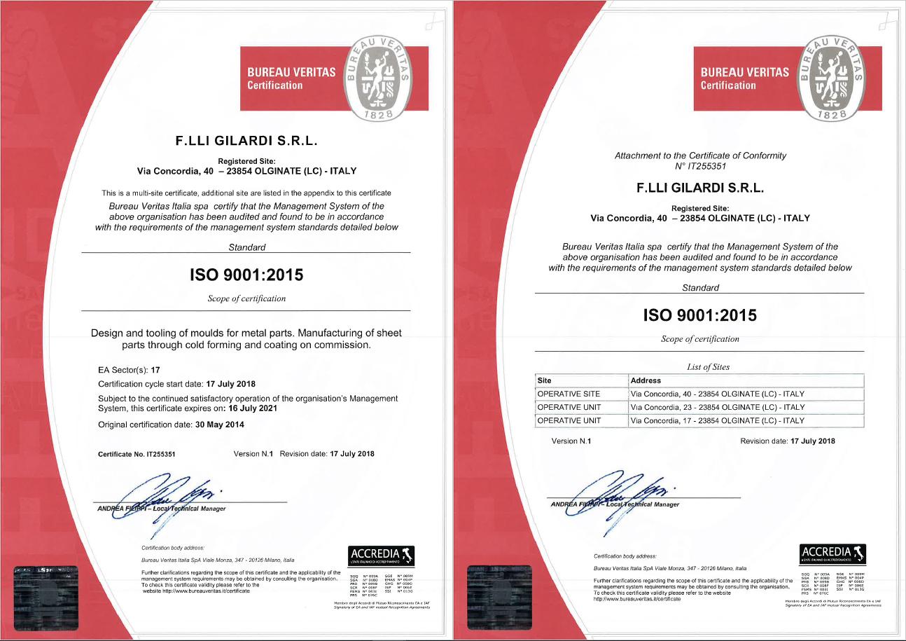iso 9001 2015 - F.lli Gilardi srl - stampi e stampaggio lamiera di precisione